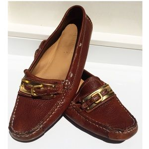 PRADA Leather Driving Loafers w/ Sig Gold Buckle!!